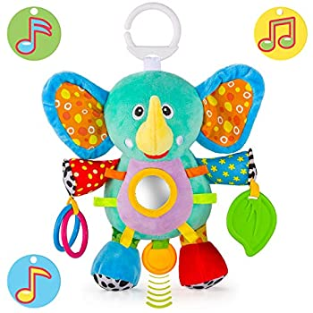 OKIKI Elephant Plush Stuffed Infant Toy Baby Development Toys with Musical Box Squeaky Feet Kids Mirror BPA Free Teether - Stroller Crib Carseat Baby Toys