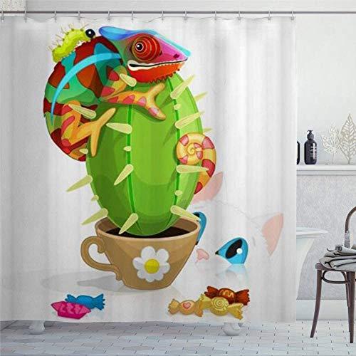 EricauBird Duschvorhang Kreativer abstrakter lustiger Kaktus Pcute Tier D Pflanze Eidechse Candy Duschvorhang mit Ringen Polyesterstoff Duschvorhänge mit Haken Bad Badezimmer Dekor