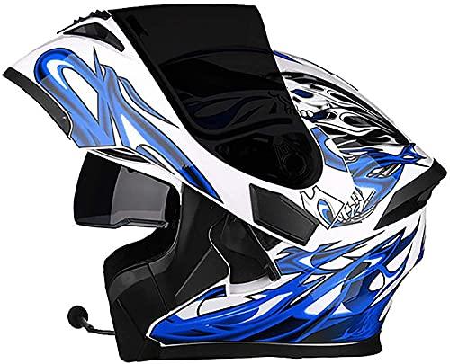 Casco de Moto Modular Bluetooth Integrado Casco De Moto Modular Con Doble Visera Cascos De Motocicleta Abierto Homologado ECE Casco Moto Integral Para Adultos Mujeres ( Color : M , Size : M=54~57cm )