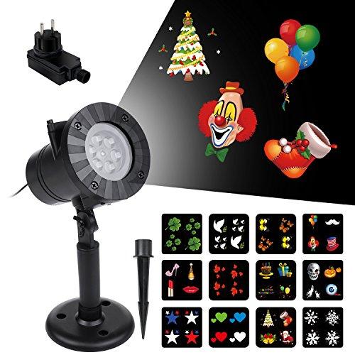 vsllcau Proyector Luces Navidad Exterior 12 Diapositivas Dinámicos Lámpara de Proyección LED Impermeable IP44 para Navidad Halloween Día de San Valentín Cumpleaños Boda Fiestas etc