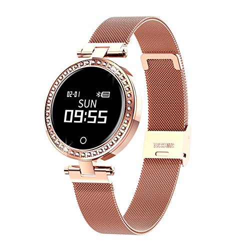 Yiwa X10 dameshorloge, intelligent, IP68, waterdicht, intelligent, Bluetooth, fitness, stappenteller, hartslag, smartwatch, goudkleurig