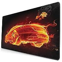 KIMDFACE 大型 マウスパッド 自動車の炎のホットプリント 個性的 おしゃれ 柔軟 かわいい ゲーミングマウスパッド PC ノートパソコン オフィス用 デスクマット 滑り止め 特大 マウスマット