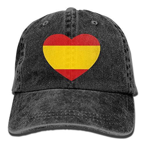 ONGH Bandera de España en Forma de corazón Sombrero de Mezclilla Gorras de béisbol Curvas Femeninas Ajustables