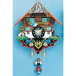 Pinnacle Peak Trading Company Swinging Girl Doll Quartz Movement Wood German Clock with Alphorn Player Germany