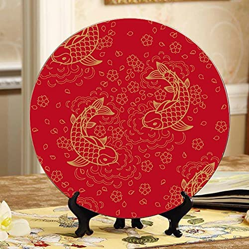 Super popular specialty store AQQA Japanese Koi Max 46% OFF Fish Lucky Ceramic Kids Party Plates Decoratio