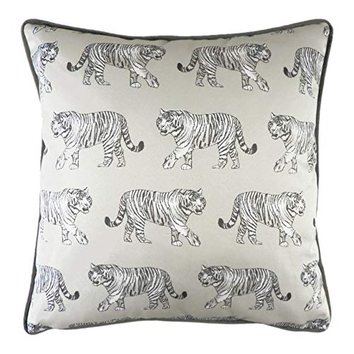 Evans Lichfield Safari Tiger - Cojín (Relleno de Plumas, 43 x 43 cm), Color Blanco