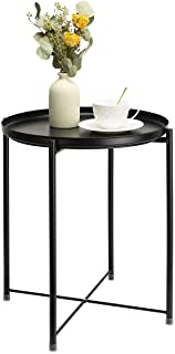 danpinera Side Table Round Metal, Outdoor Side Table Small Sofa End Table Indoor Accent Table Round Metal Coffee Table Wat...