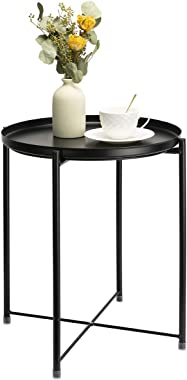 danpinera Side Table Round Metal, Outdoor Side Table Small Sofa End Table Indoor Accent Table Round Metal Coffee Table Waterp