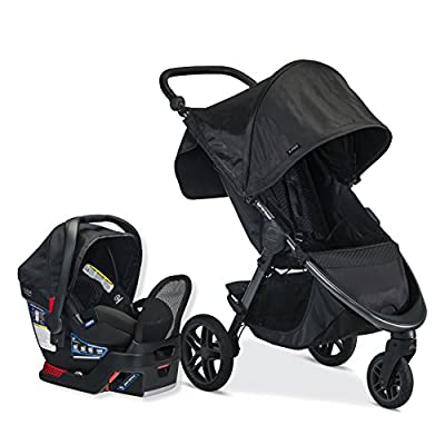 Britax B-Free Travel System with B-Safe Endeavors Infant Car Seat | All Terrain Tires + Adjustable Handlebar + Extra Storage with Front Access + One Hand, Easy Fold, Midnight