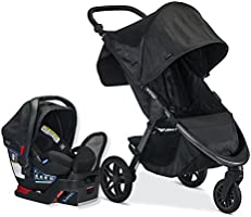 Britax B-Free Travel System with B-Safe Endeavors Infant Car Seat | All Terrain Tires + Adjustable Handlebar + Extra...