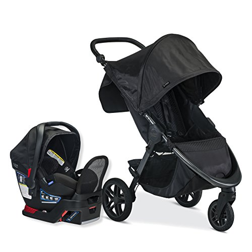Britax B-Free Travel System with B-Safe Endeavors Infant Car Seat | All Terrain Tires + Adjustable Handlebar + Extra Storage with Front Access + One Hand, Easy Fold - Midnight