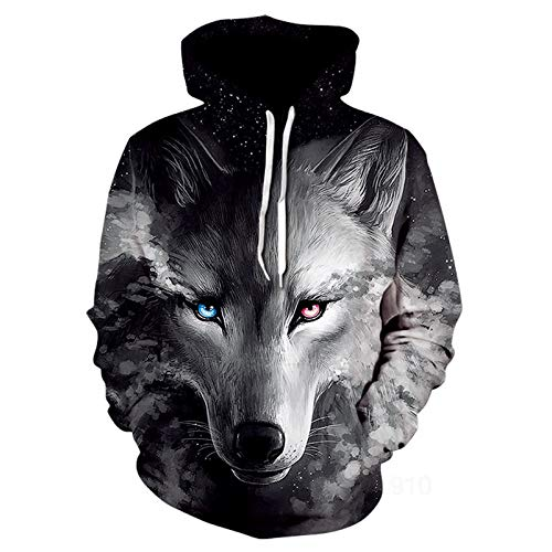 Autumn/Winter Casual Couple Wear 3D Animal Printed Hooded Pullover Sweater Jacket