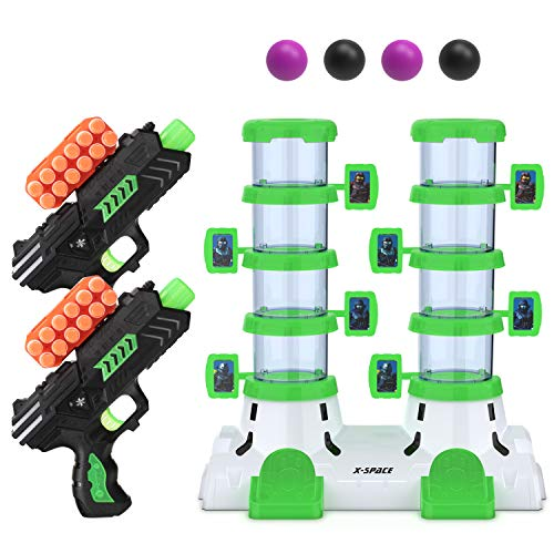 Afunx Shooting Game Toy for Age 5, 6, 7, 8, 9,10+, Shooting Target Toy Guns Glow in The Dark for Kids with 2 Foam Dart Toy Guns, 4 Target Balls and 24 Foam Darts, Perfect Gifts for Boys and Girls