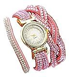 Reloj de Mujer de Doble Vuelta con Cierre de Clip y Dos ajustes de Color Rosa.