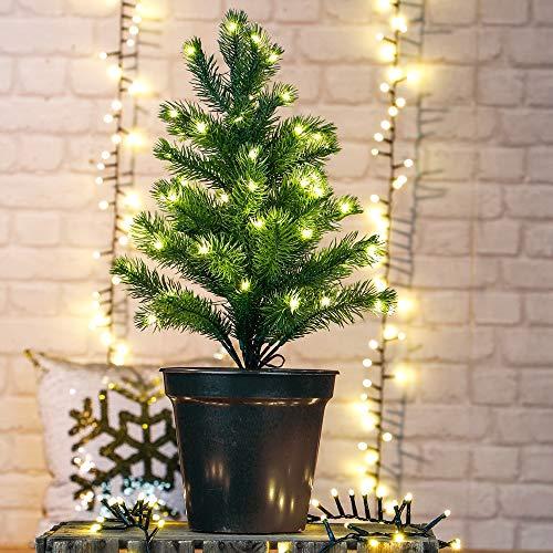 HI Künstlicher Weihnachtsbaum mit 50 LEDs im Topf 55 cm Tannenbaum Christbaum Dekobaum beleuchtet mit Lichterkette 55569