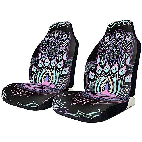 Fatima Grunge Mandala, 2 stuks, bekleding voor autostoelhoezen, van zacht polyester, voor autostoelhoezen, truck van SUV