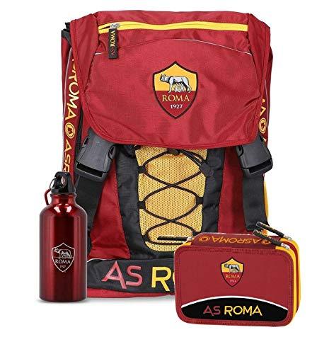 Schoolpack Zaino Scuola AS Roma Estensibile con Borraccia + Astuccio 3 Zip