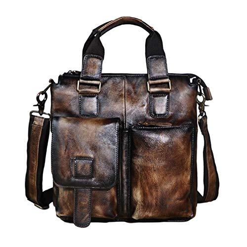 Shoulder Messenger Bag Men Oil Wax Leather Retro Business Briefcase 12in Laptop Case Attache Portfolio Bag Tote (Color : Dark Brown)