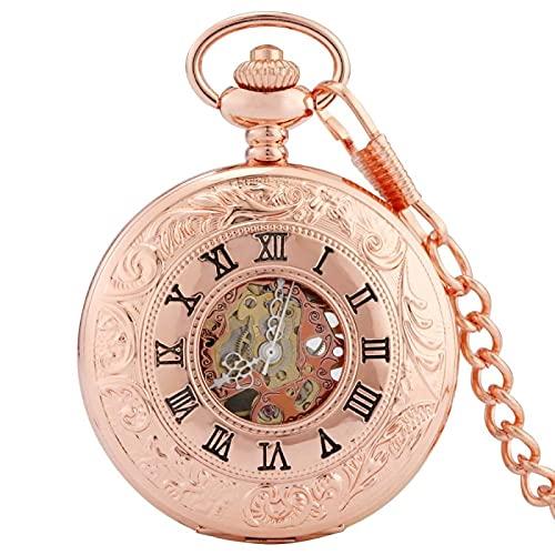 XXCHUIJU Reloj de Bolsillo Retro, Reloj de Bolsillo mecánico de Plata de Oro Rosa de Lujo Esqueleto Hueco de Lujo dial de Numeral Romano Caja de Esqueleto análogo Cadena de Viento de la Mano