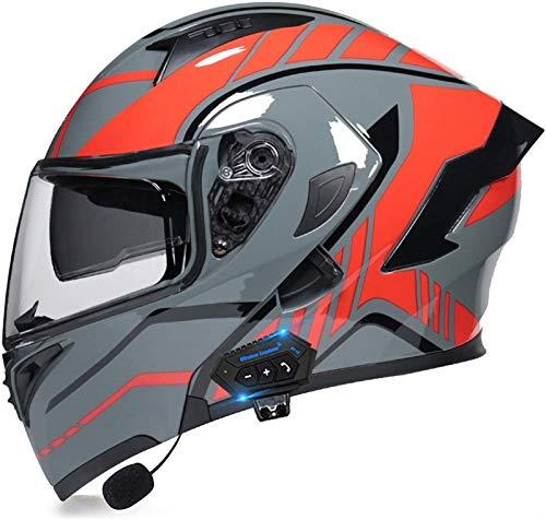 ZYQZYQ Casco de Bluetooth de la Motocicleta, Visor de Doble Sol Modular Tipo Doble Casco Completo, Casco Dot & ECETertificado, Contestación automática de Manos Libres (Color : 19, Size : M-57-58cm)