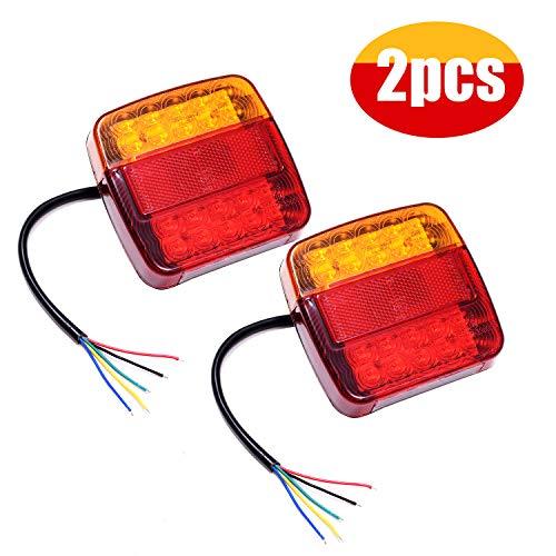 GLCS GLAUCUS 2PCS 20LED Luces Traseras Piloto Remolque Freno de Señal Impermeable Rojo Ambar Lámpara de Matrícula Placa 12V Indicador Luces de Cola para Caravana Coche Camión Barco Tractor