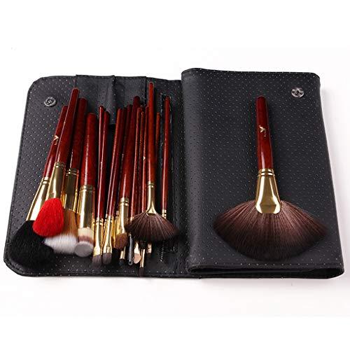 CC-Makeup Brush Fard à Paupières Brosses Maquillage pour Les Yeux avec Sac (Pochette en Cuir PU) Poils Naturels Doux pour Fard à Paupières, Sourcils, Eyeliner, Mélange
