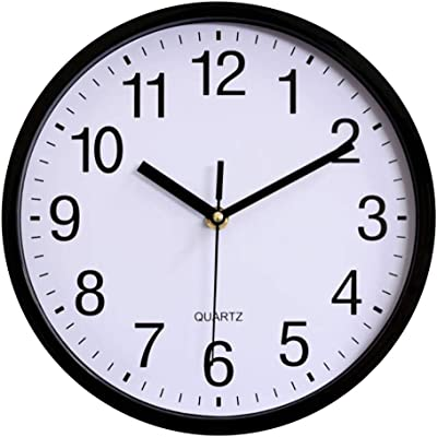 Amazon Com Hito Modern Silent Wall Clock Non Ticking 10 Inch Excellent Accurate Sweep Movement Silver Aluminum Frame Glass Cover Decorative For Kitchen Living Room Bedroom Bathroom Bedroom Office Black Kitchen Dining