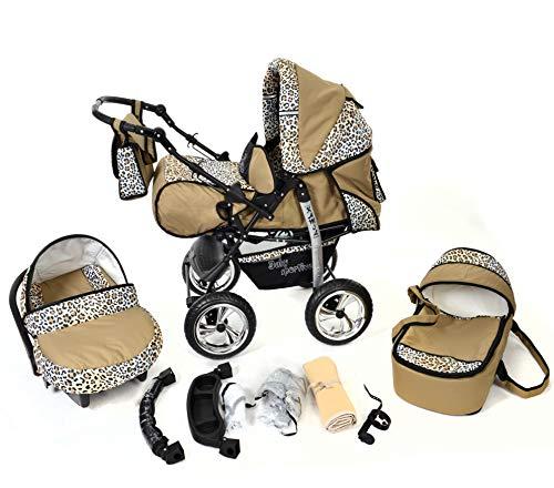 Kamil - Sistema de viaje 3 en 1, silla de paseo, carrito con capazo y silla de coche, RUEDAS EST�TICAS y accesorios (Sistema de viaje 3 en 1, beige y leopardo)