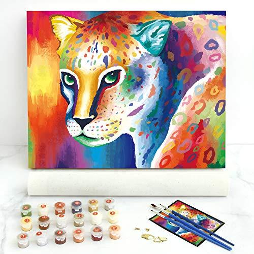 Gronda Pintura por números para adultos, niños, principiantes, niños, guepardo, 40 x 50 cm (sin marco) Animales DIY Color por números en lienzo