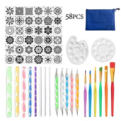Juego de 58 herramientas de mandala para pintar de Rock Stencil acrílico