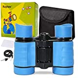 Rayhee Rubber 4x30mm Toy Binoculars for Kids - Bird Watching - Educational Learning - Hunting - Hiking - Birthday Presents - Gifts for Children - Outdoor Play (Blue)