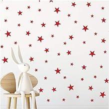 StickerDeen | Rode Ster Stickers Kwekerij Stickers Decoratie Verwijderbare Peel & Stick Muur Art Vinyl Stickers | (Gift Pa...