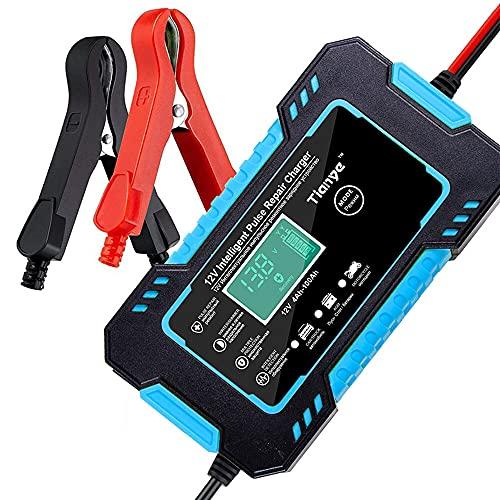 Maalr Caricabatteria Auto di Carica, 6A 12V Intelligente Automatico Caricabatterie Manutentore con Schermo LCD per Auto Moto Camion AGM (Blu)
