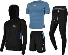Trainingskleidung für Herren Kompression Enge Hosen Kurzarm T-Shirt Shorts Männer 4 Stück Sport Activewear Anzug Mit Outwear für Radfahren Laufen Gym Fitness ( Color : Black blue , Size : S )