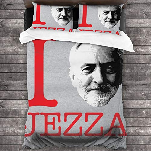 KUKHKU Jeremy Corbyn I Heart Jezza 3 Pieces Bedding Set Duvet Cover 86″x70″,Decorative 3 Piece Bedding Set with 2 Pillow Shams