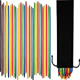 Tatuo 82 Pieces Giant Neon Pick Up Sticks Game in Black Velvet Bag, 9.8 Inches Long, Classic Wooden Thin Pick Up Stick Game Fun Game Gift for Family (82 Pieces)