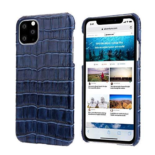 EREACH Funda para iPhone 11 Pro MAX, Piel de Vacuno de Grano de cocodrilo de Lujo, Ultrafina, Antideslizante, para iPhone 11 Pro MAX, iPhone 11 Pro MAX, Azul Marino