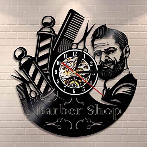 LIMN Barbers Pole Disco de Vinilo Reloj de Pared Signo de peluquería Reloj de Pared Peluquería Estilista Herramientas para el Cabello Tijeras Peluquería Obra de Arte Regalo | Relojes de Pared