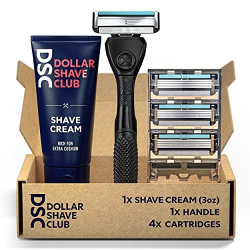 Dollar Shave Club 4-Blade Razor Starter Set, 1 Handle, 4x4-blade Cartridges, 3oz Shave Cream, Silver/Blue