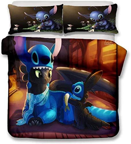 XZHYMJ Bettbezug Bettwäschesätze 3 Stück Disney Stitch 3D-Druck Polyester Mikrofaser weich & bequem 1 * Bettbezug 2 * Kissenbezüge (Drachenzähmen 135x200cm)-220 x 240 cm_Drachenzähmen leicht gemacht