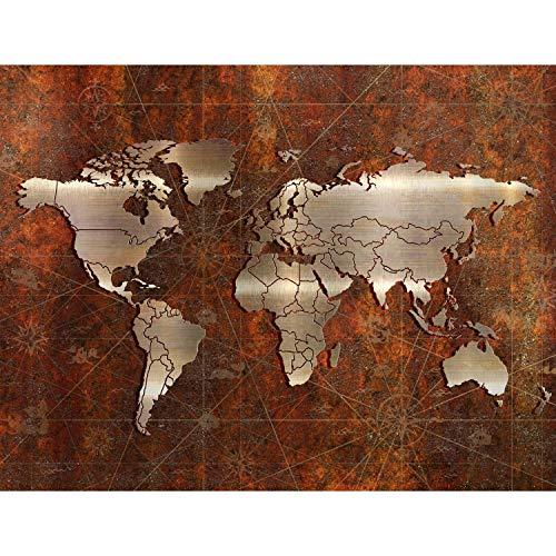 Fototapeten 396 x 280 cm Weltkarte metallic | Vlies Wanddekoration Wohnzimmer Schlafzimmer | Deutsche Manufaktur | Braun Bronze 9031012a