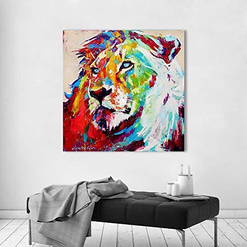 Wall Art Picture Animal Schilderij De Leeuw Canvas Print Grote Kat voor Woonkamer Huis Decor Geen Frame Schilderij 16x16