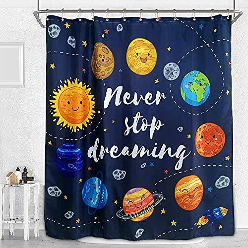 Sistema Solar de Dibujos Animados Planeta Cortina de baño Espacio Galaxy Cortina de Ducha Impermeable Alfombra de baño Decoración del hogar para niños S.2 150x180cm