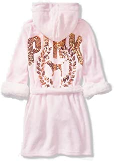 Victoria's Secret Pink Sherpa Lined Robe with Gold Sequins (M/L)