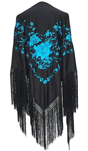 La Señorita Mantones bordados Flamenco Manton de Manila negro flores azul Large