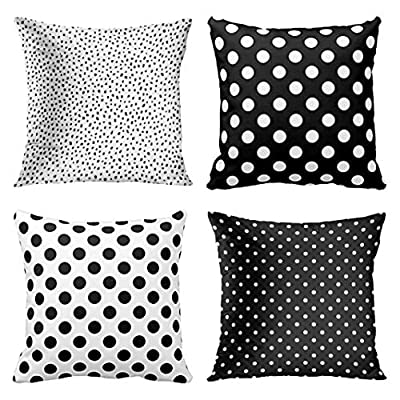 Set of 4 Multiple Polka Dot Pattern Black and White Pillows