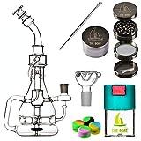 Bong Cristal THE BOAT - Bestia parda 30 cm - Con percolador + Grinder + Bowls + Bote hermético antiolor + Accesorios. Hecho a mano - Para su uso en tabaco.
