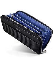 財布 メンズ 長財布 カーボンレザー 財布 YKK製 ラウンドファスナー イタリアン 大容量 小銭入れ付き さいふ(doodle yard)