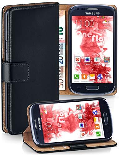 moex Klapphülle kompatibel mit Samsung Galaxy S3 Mini Hülle klappbar, Handyhülle mit Kartenfach, 360 Grad Flip Case, Vegan Leder Handytasche, Schwarz