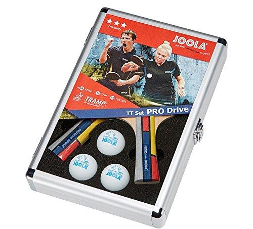 JOOLA Tischtennis-Set PRO Drive Bestehend aus 2 Tischtennisschlägern 3 Tischtennisbällen 1 Alukoffer-Ideal Für Familien und Freizeitsport, Mehrfarbig